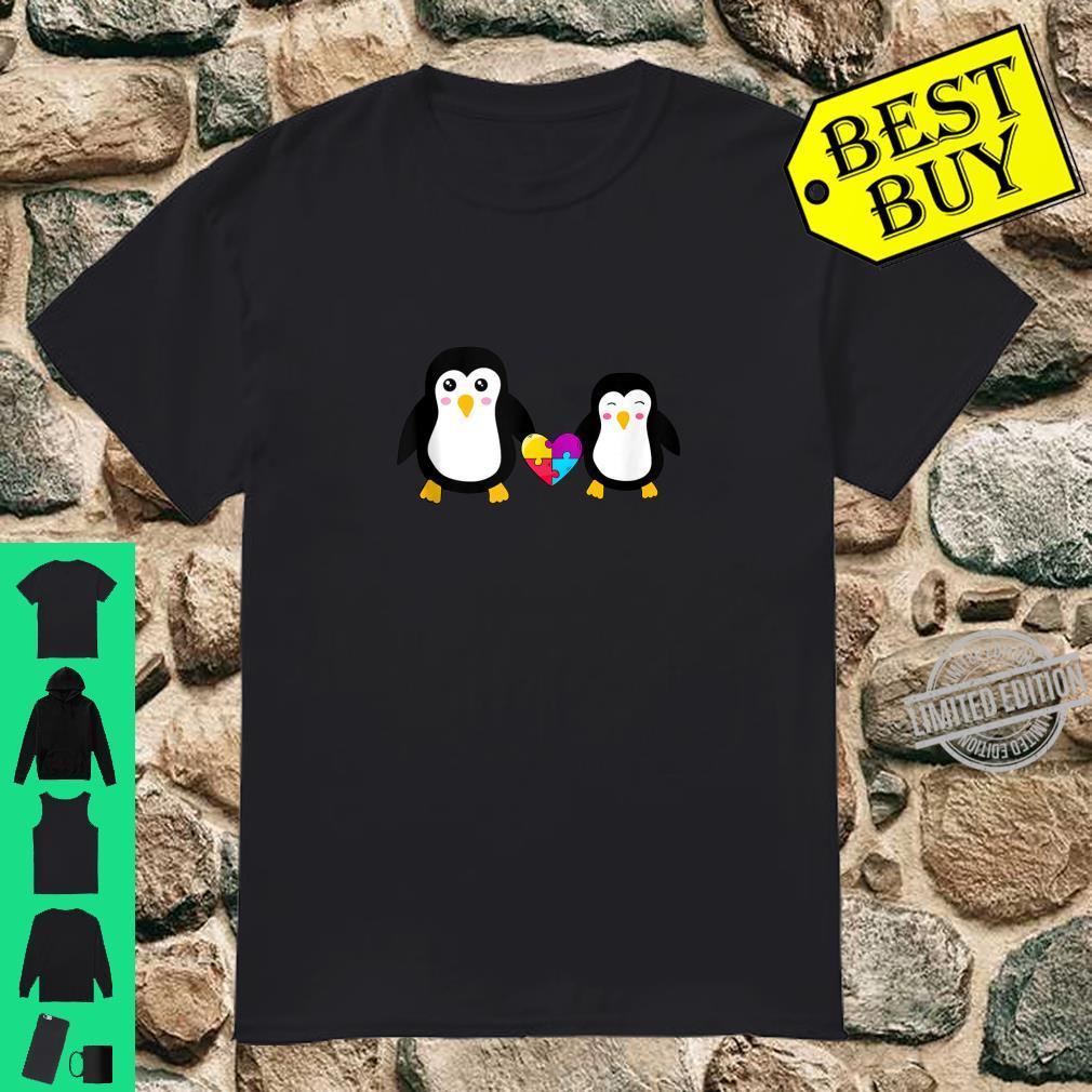 Autism Awareness Cute Penguin Heart Puzzles Shirt