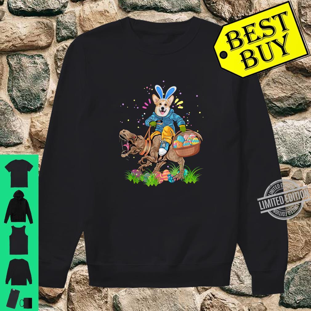 Bunny Corgi Dog Riding Trex Dinosaur Easter Eggs Shirt sweater
