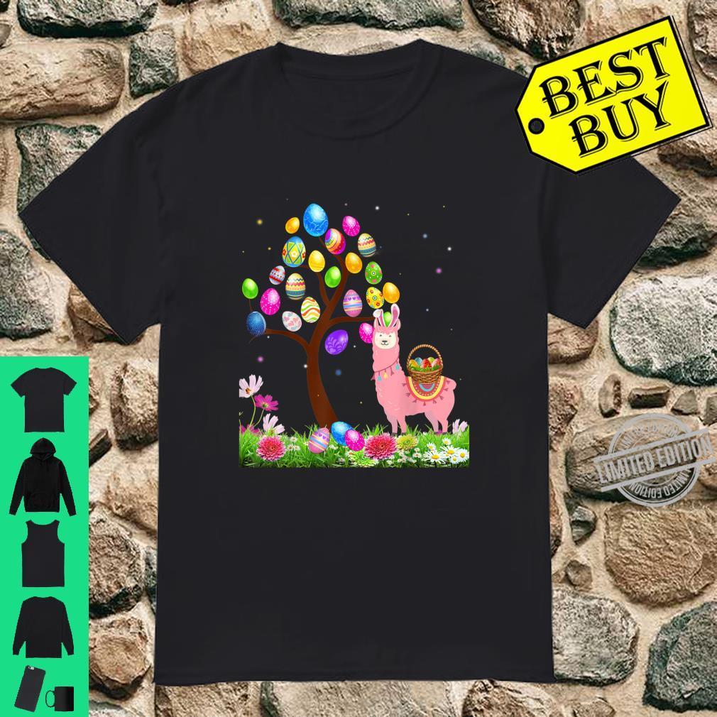 Cute Llama Hunting Egg Tree Bunny Easter Day Star Shirt