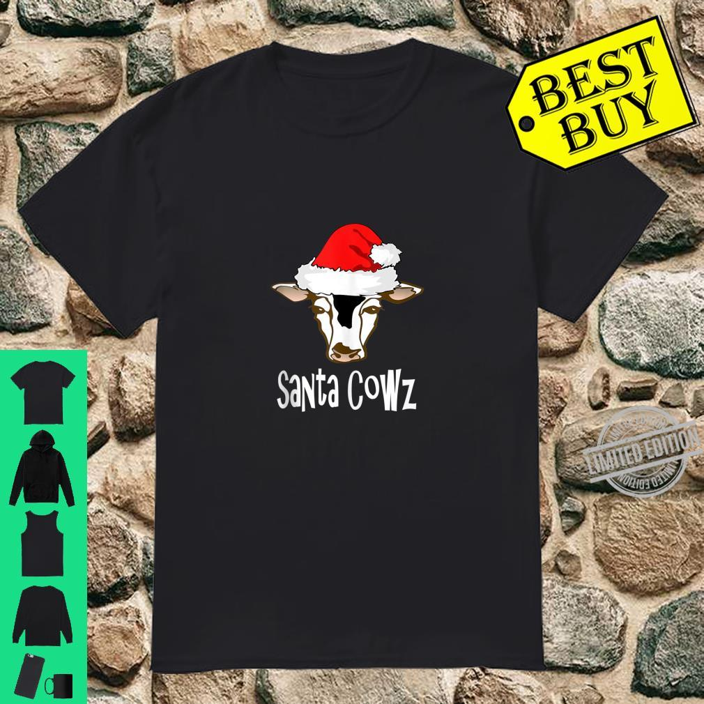 FUNNY CHRISTMAS COW WEARING XMAS HAT IS NOW SANTA COWZ Shirt