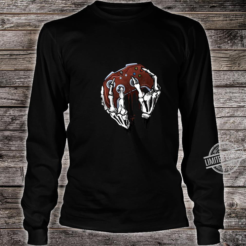 Funny Zombie Skull Video Gamer Gaming Boys Shirt long sleeved