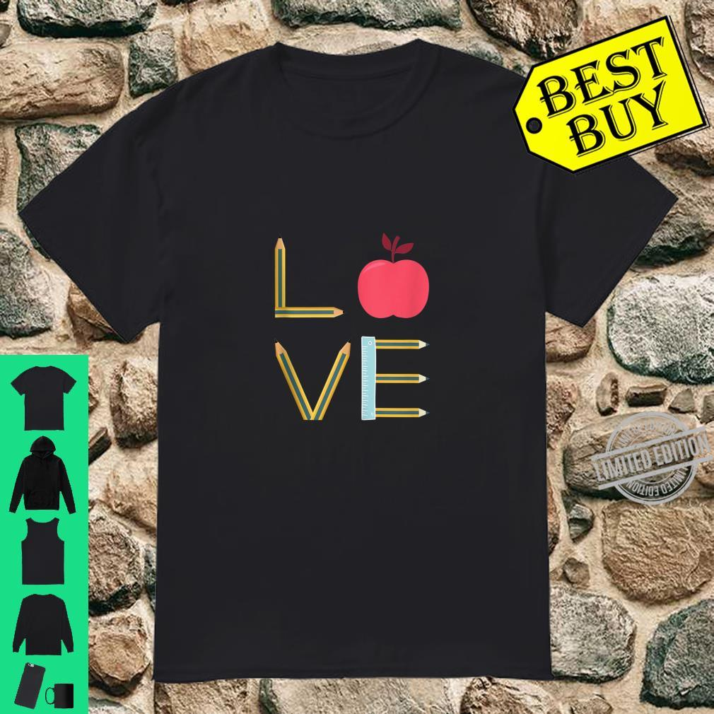 Love Teaching Pencil And Apple Teacher Quote Design Shirt
