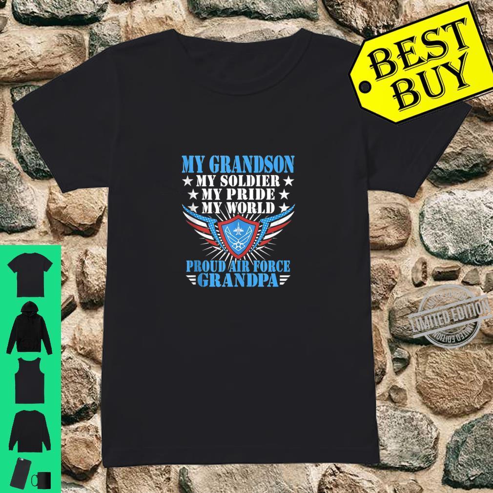Mens My Grandson Is A Soldier Airman Proud Air Force Grandpa Shirt ladies tee