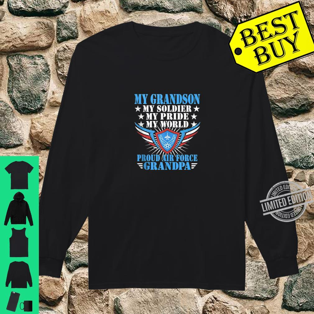 Mens My Grandson Is A Soldier Airman Proud Air Force Grandpa Shirt long sleeved