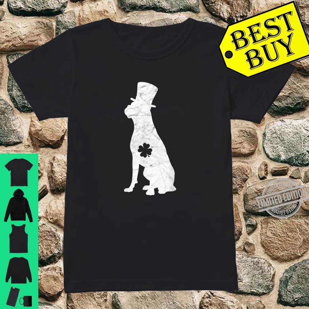 Retro Boxer Hat Irish Shamrock Dog St Patrick's Day Shirt ladies tee