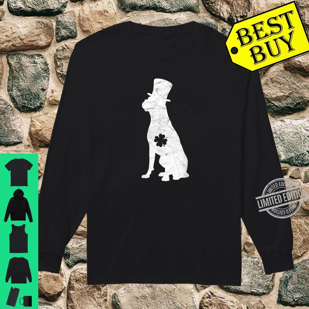 Retro Boxer Hat Irish Shamrock Dog St Patrick's Day Shirt long sleeved