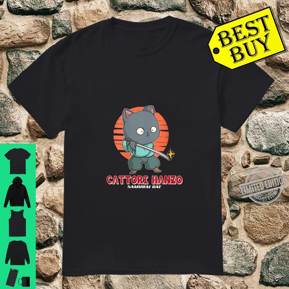 Womens Samurai Cat Cattori Hanzo Katana Sword Japanese Kitten Ninja Shirt