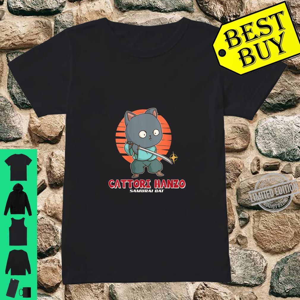 Womens Samurai Cat Cattori Hanzo Katana Sword Japanese Kitten Ninja Shirt ladies tee