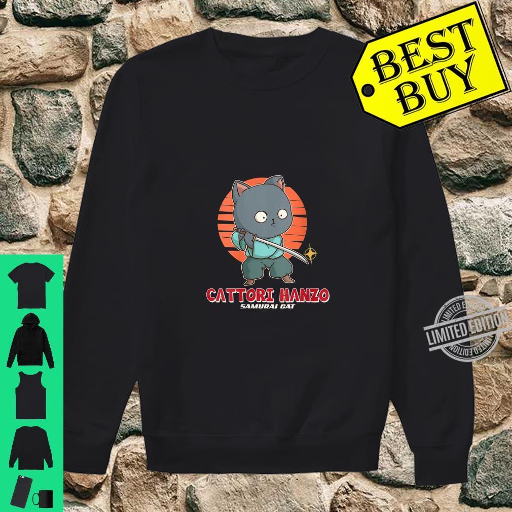 Womens Samurai Cat Cattori Hanzo Katana Sword Japanese Kitten Ninja Shirt sweater